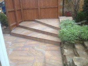 new garden decking with steps