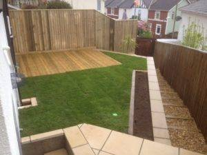 wooden decking and turf