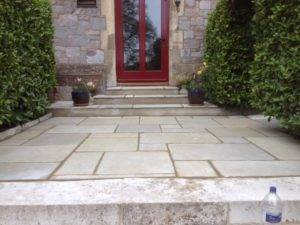 new paving up to front door of house