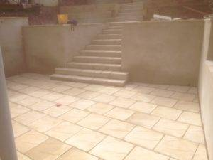 new neutral stone colour paving and stairs