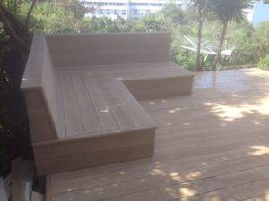 new decking with wooden bench