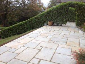 new paving and garden hedge