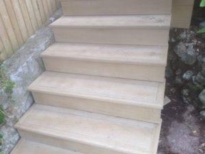 new wooden steps in garden
