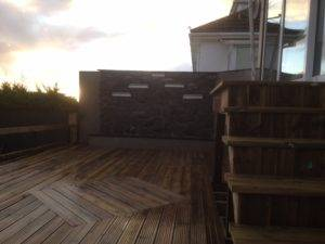 new wooden decking at sunset