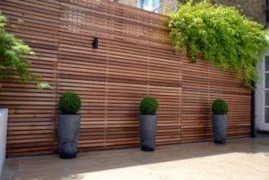 new wooden garden fence