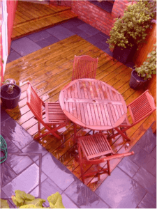 table and chairs on new garden decking