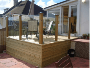 new wooden decking on wall