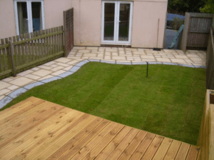new turf and decking in back garden