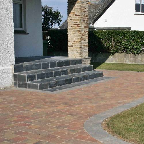 Block paving path and steps