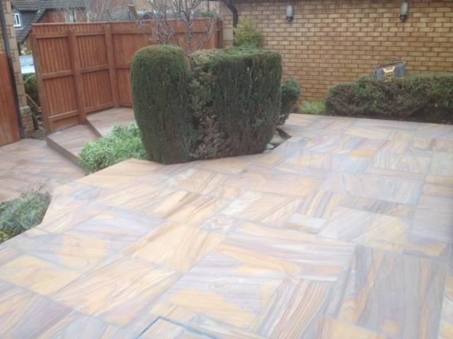 Textured patio slabed rear garden