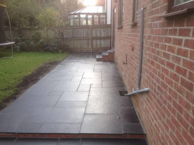 Black slate effect patio area
