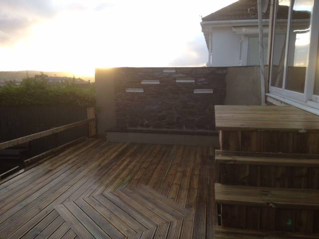 Raised decking area and steps
